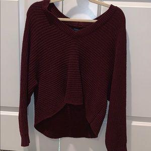 NWOT cropped vneck sweater